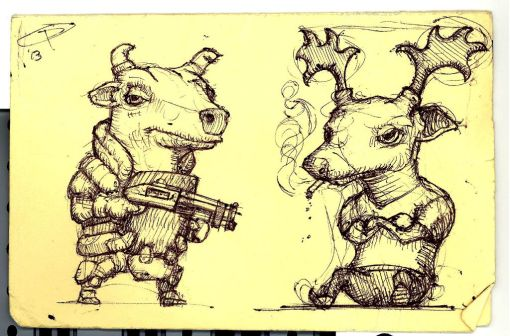Bull and Buck Sketch Scaled